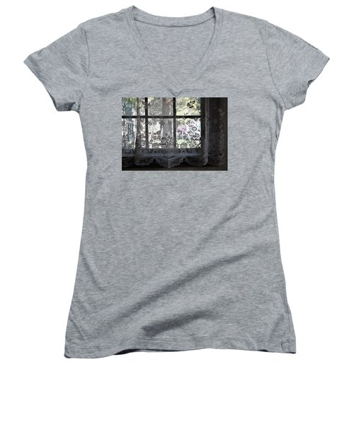 Old Lace And Old Times Women's V-Neck T-Shirt (Junior Cut) by John Glass
