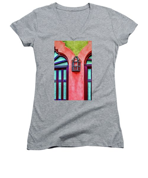 Women's V-Neck T-Shirt featuring the photograph Old Lamp Between Windows by Gary Slawsky