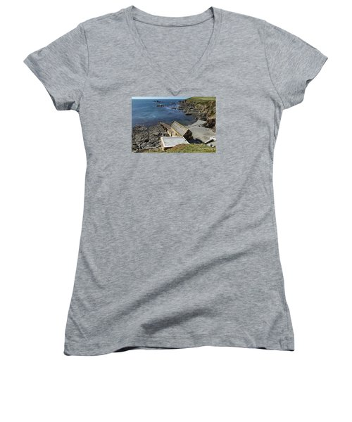 Old Lifeboat Station Women's V-Neck T-Shirt (Junior Cut) by Brian Roscorla