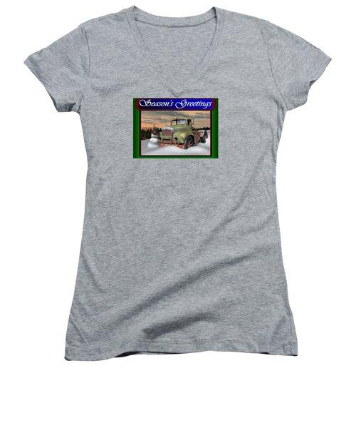 Old Mack Christmas Card Women's V-Neck T-Shirt (Junior Cut) by Stuart Swartz