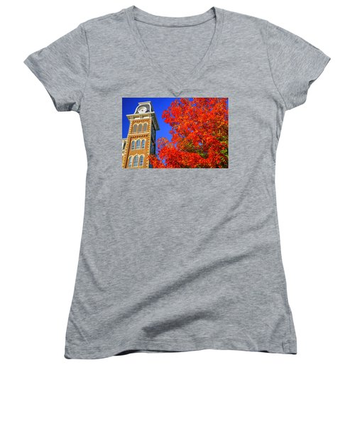 Old Main Maple Women's V-Neck T-Shirt (Junior Cut) by Damon Shaw