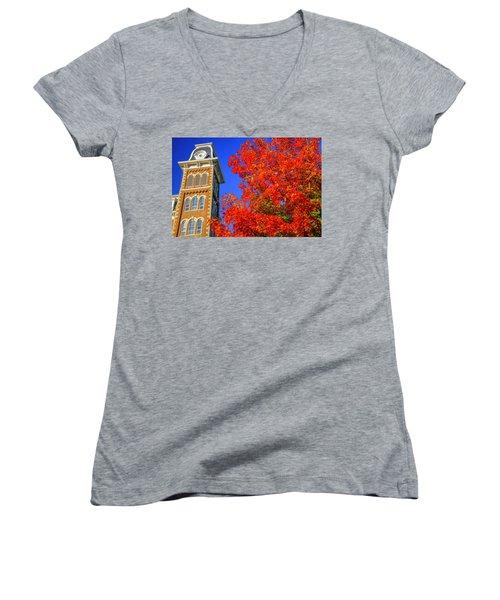 Old Main Maple Women's V-Neck T-Shirt (Junior Cut)