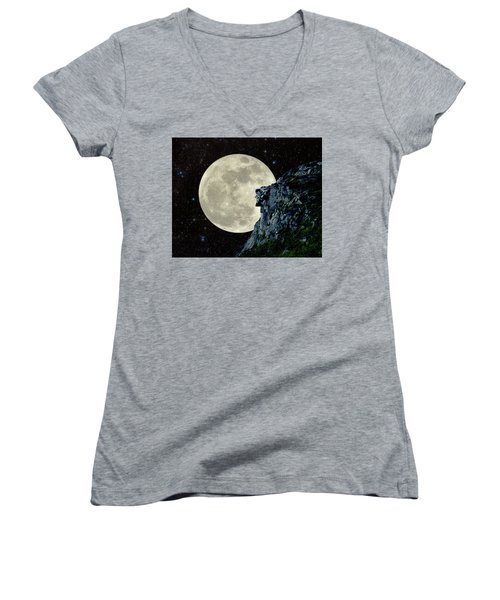 Women's V-Neck T-Shirt (Junior Cut) featuring the photograph Old Man / Man In The Moon by Larry Landolfi
