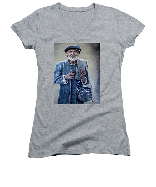Women's V-Neck T-Shirt (Junior Cut) featuring the painting Old Man With His Stones by Judy Kirouac