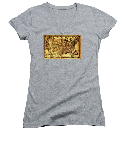 Old Map United States Women's V-Neck