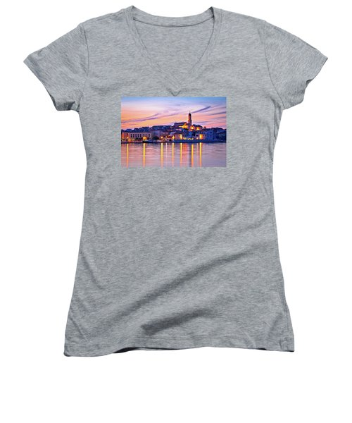 Old Mediterranean Town Of Betina Sunset View Women's V-Neck T-Shirt (Junior Cut) by Brch Photography