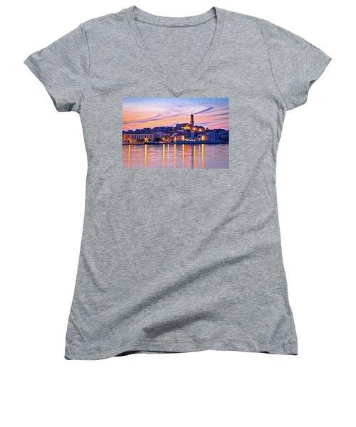 Old Mediterranean Town Of Betina Sunset View Women's V-Neck T-Shirt