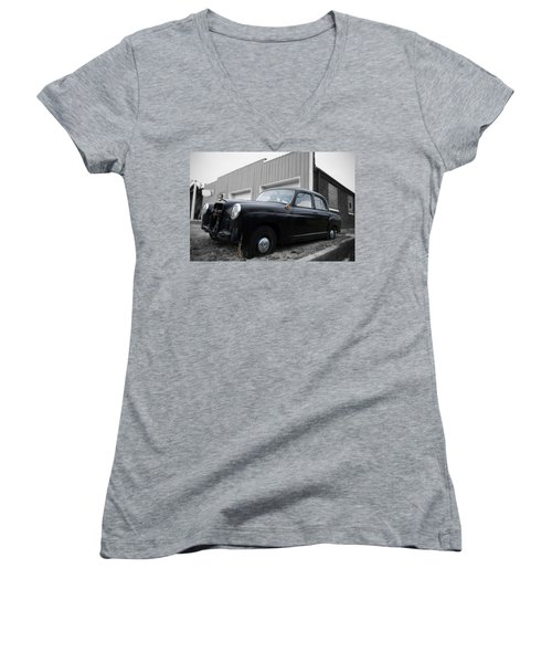 Old Mercedes Sitting At The Shop - Color On Black And White Women's V-Neck T-Shirt (Junior Cut) by Janice Adomeit