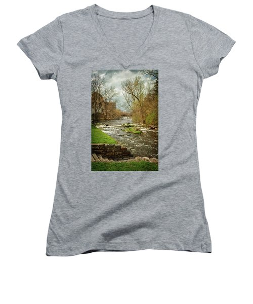 Old Mill On The River Women's V-Neck (Athletic Fit)