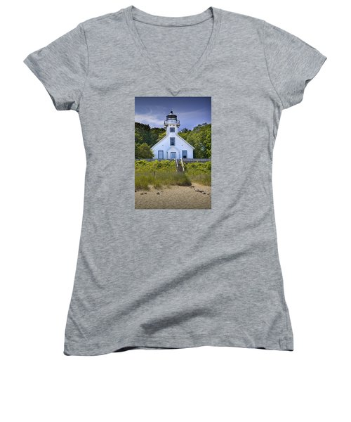 Old Mission Point Lighthouse In Grand Traverse Bay Michigan Number 2 Women's V-Neck T-Shirt (Junior Cut) by Randall Nyhof