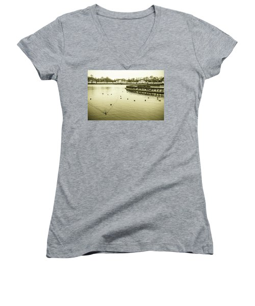 Old Munich Women's V-Neck T-Shirt (Junior Cut) by Sergey Simanovsky