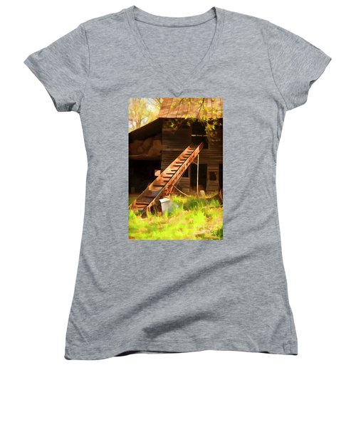 Women's V-Neck T-Shirt (Junior Cut) featuring the photograph Old North Carolina Barn And Rusty Equipment   by Wilma Birdwell