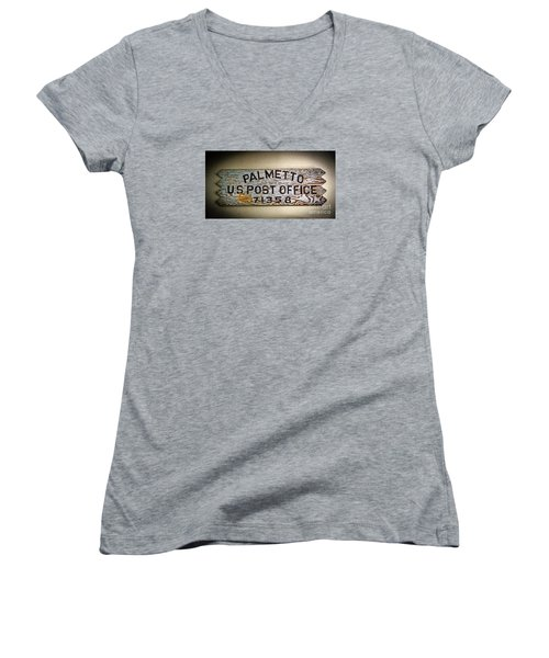 Women's V-Neck T-Shirt (Junior Cut) featuring the photograph Old Palmetto Sign by Paul Mashburn