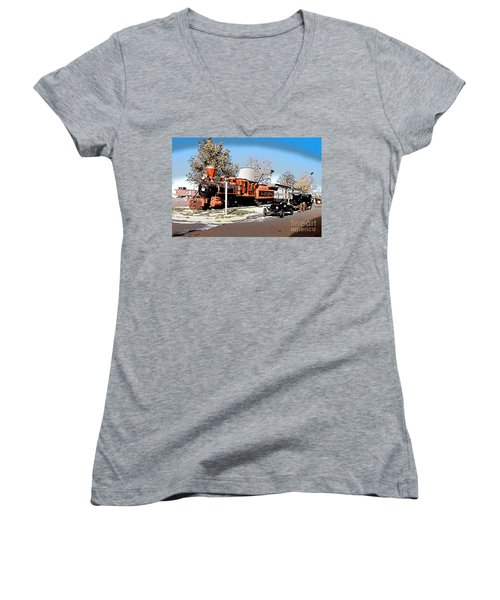 Old Pioneer Train Western Village Las Vegas Women's V-Neck T-Shirt (Junior Cut) by Wernher Krutein