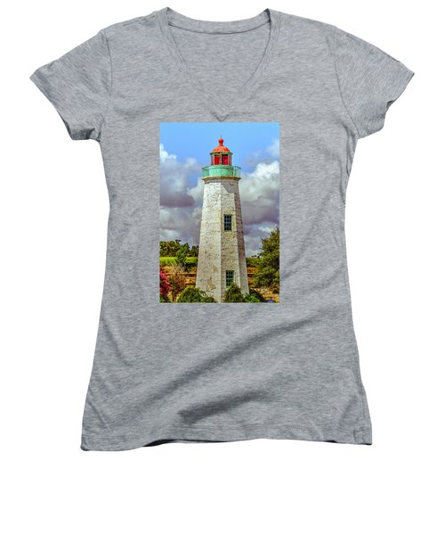 Old Point Comfort Lighthouse Women's V-Neck (Athletic Fit)