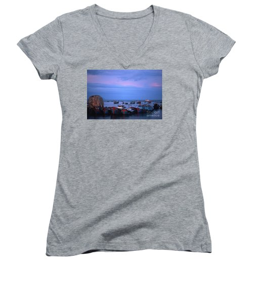 Old Port Of Nha Trang In Vietnam Women's V-Neck (Athletic Fit)