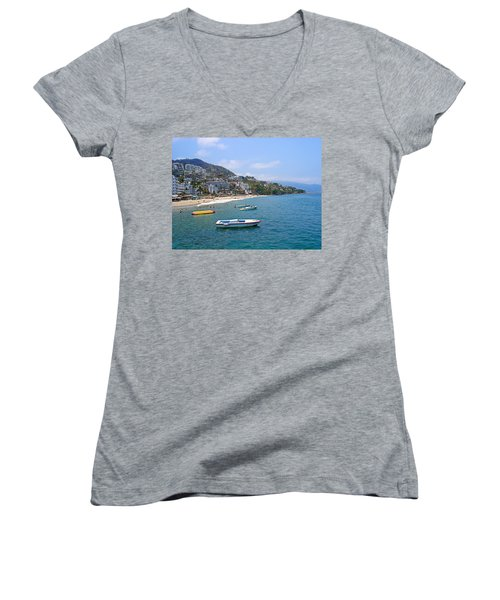 Old Puerto Vallarta  Women's V-Neck T-Shirt