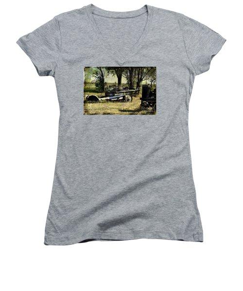 Old Rail Women's V-Neck T-Shirt (Junior Cut) by Deborah Nakano