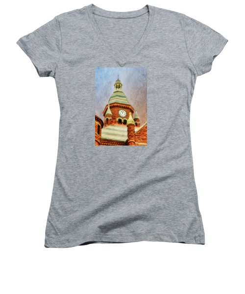 Women's V-Neck T-Shirt (Junior Cut) featuring the photograph Old Red by Joan Bertucci