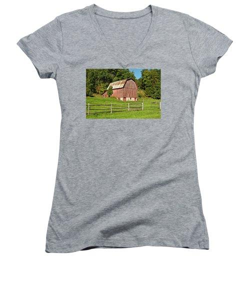 Old Red_9374 Women's V-Neck T-Shirt