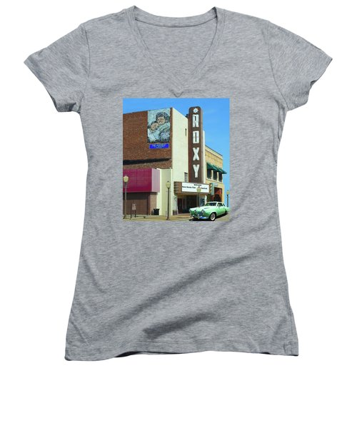 Old Roxy Theater In Muskogee, Oklahoma Women's V-Neck (Athletic Fit)