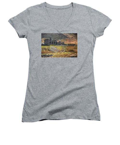 Women's V-Neck T-Shirt (Junior Cut) featuring the photograph Old Ruin At Cwmorthin by Adrian Evans