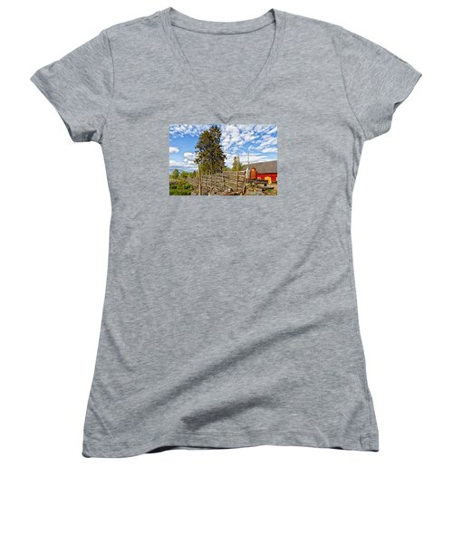 Women's V-Neck T-Shirt (Junior Cut) featuring the photograph Old Rural Farm Set In A Beautiful Summer Nature by Christian Lagereek