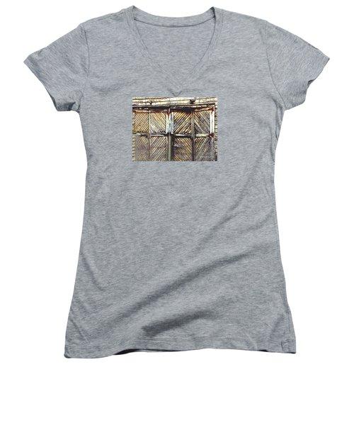 Old Rusted Barn Door Women's V-Neck T-Shirt (Junior Cut) by Merton Allen