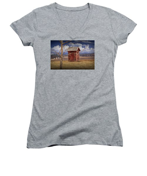 Old Rustic Wooden Outhouse In West Michigan Women's V-Neck T-Shirt