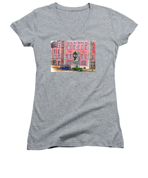 Old Salem Five Savings Bank Women's V-Neck T-Shirt (Junior Cut) by Paul Meinerth