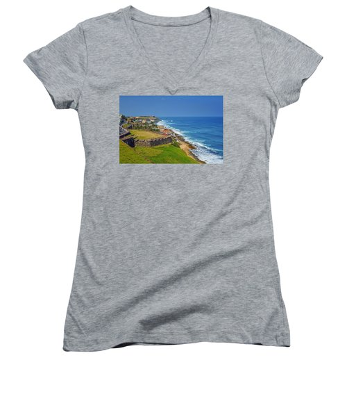 Old San Juan Coastline Women's V-Neck (Athletic Fit)