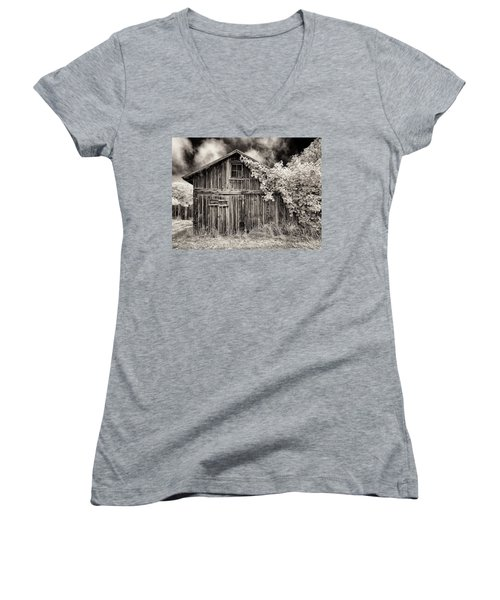Women's V-Neck T-Shirt (Junior Cut) featuring the photograph Old Shed In Sepia by Greg Nyquist