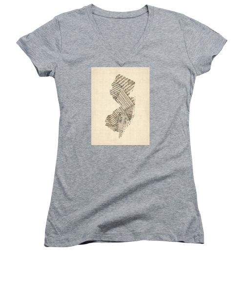 Old Sheet Music Map Of New Jersey Women's V-Neck T-Shirt (Junior Cut) by Michael Tompsett