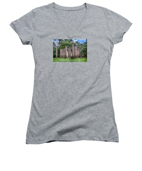 Women's V-Neck T-Shirt (Junior Cut) featuring the photograph Old Sheldon Church by Patricia Schaefer