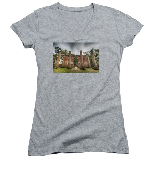 Old Sheldon Church Ruins Women's V-Neck (Athletic Fit)
