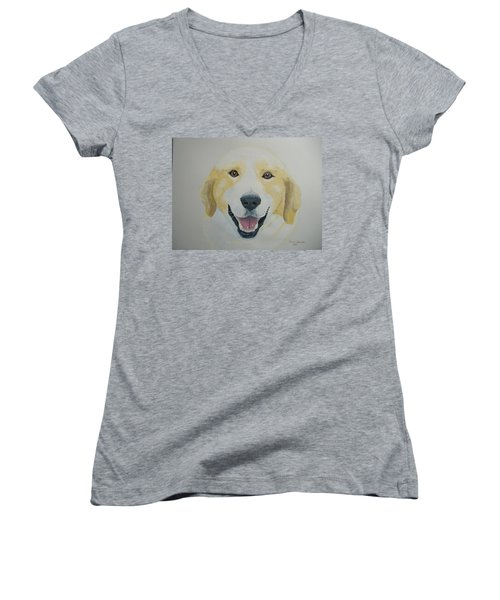 Women's V-Neck T-Shirt (Junior Cut) featuring the painting Old Shep by Norm Starks