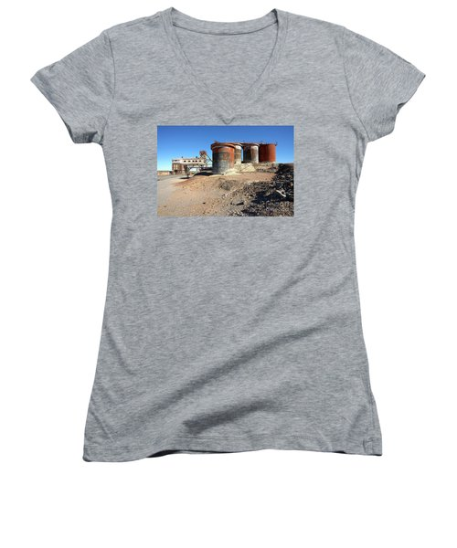 Old Silver Mine Broken Hill Women's V-Neck T-Shirt (Junior Cut) by Bill Robinson