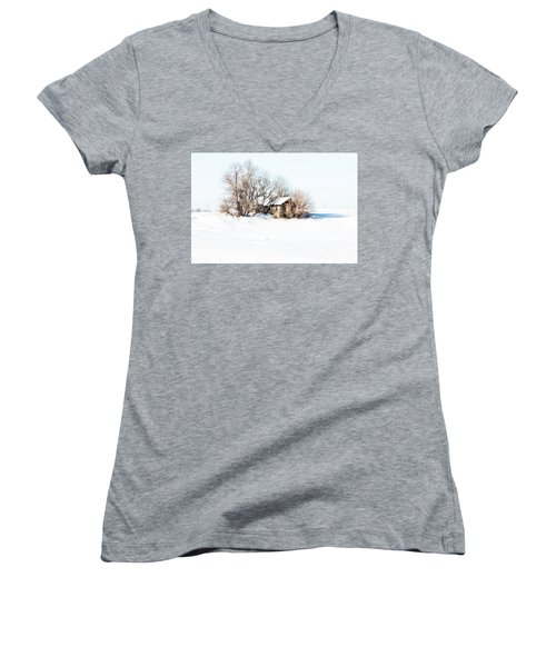 Women's V-Neck T-Shirt (Junior Cut) featuring the photograph Old  Stone House Milford by Julie Hamilton