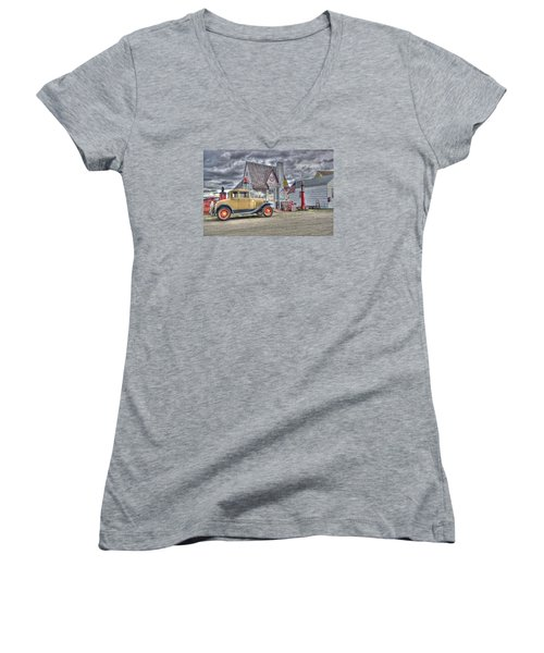 Old Time Gas Station Women's V-Neck T-Shirt (Junior Cut) by Shelly Gunderson
