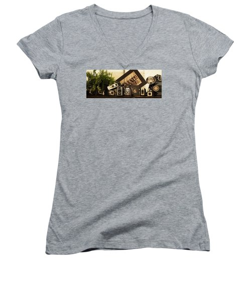 Old Time Photography Women's V-Neck T-Shirt (Junior Cut) by Cathy Donohoue