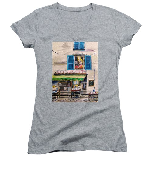 Women's V-Neck T-Shirt (Junior Cut) featuring the painting Old Town Cafe by John Williams