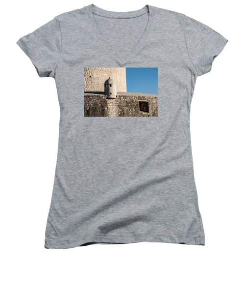 Women's V-Neck T-Shirt (Junior Cut) featuring the photograph Old Town Dubrovnik by Silvia Bruno