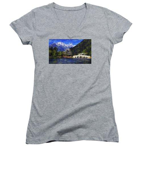 Old Town Of Lijiang Women's V-Neck