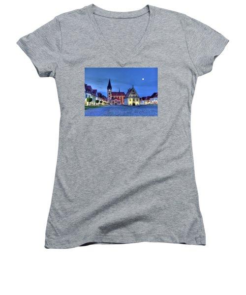 Old Town Square In Bardejov, Slovakia,hdr Women's V-Neck T-Shirt (Junior Cut) by Elenarts - Elena Duvernay photo