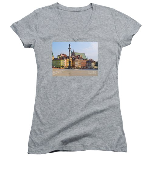 Old Town Square Zamkowy Plac In Warsaw Women's V-Neck T-Shirt (Junior Cut) by Anastasy Yarmolovich