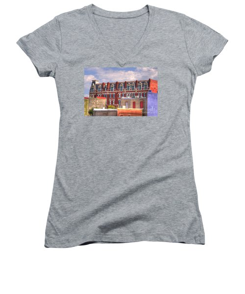 Old Town Wichita Kansas Women's V-Neck T-Shirt (Junior Cut) by Juli Scalzi