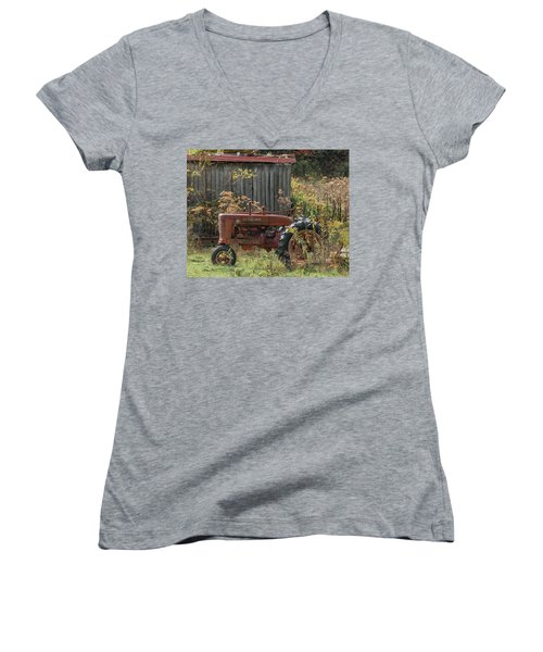 Old Tractor On The Farm. Women's V-Neck