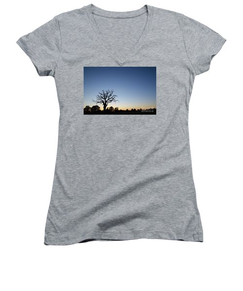 Old Tree Silhouette Women's V-Neck (Athletic Fit)