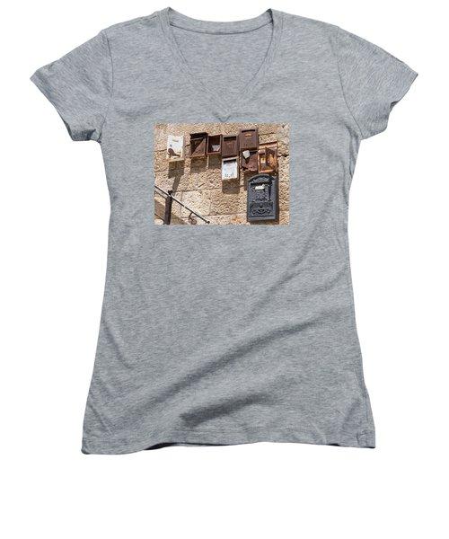 Old  Mailboxes In Jerusalem Women's V-Neck T-Shirt (Junior Cut) by Yoel Koskas