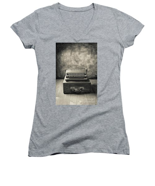 Women's V-Neck T-Shirt featuring the photograph Old Vintage Typewriter  by Edward Fielding